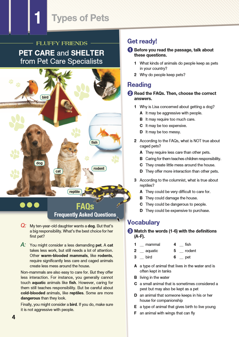 ESP English for Specific Purposes - Career Paths: Pet Care - Sample Page 1