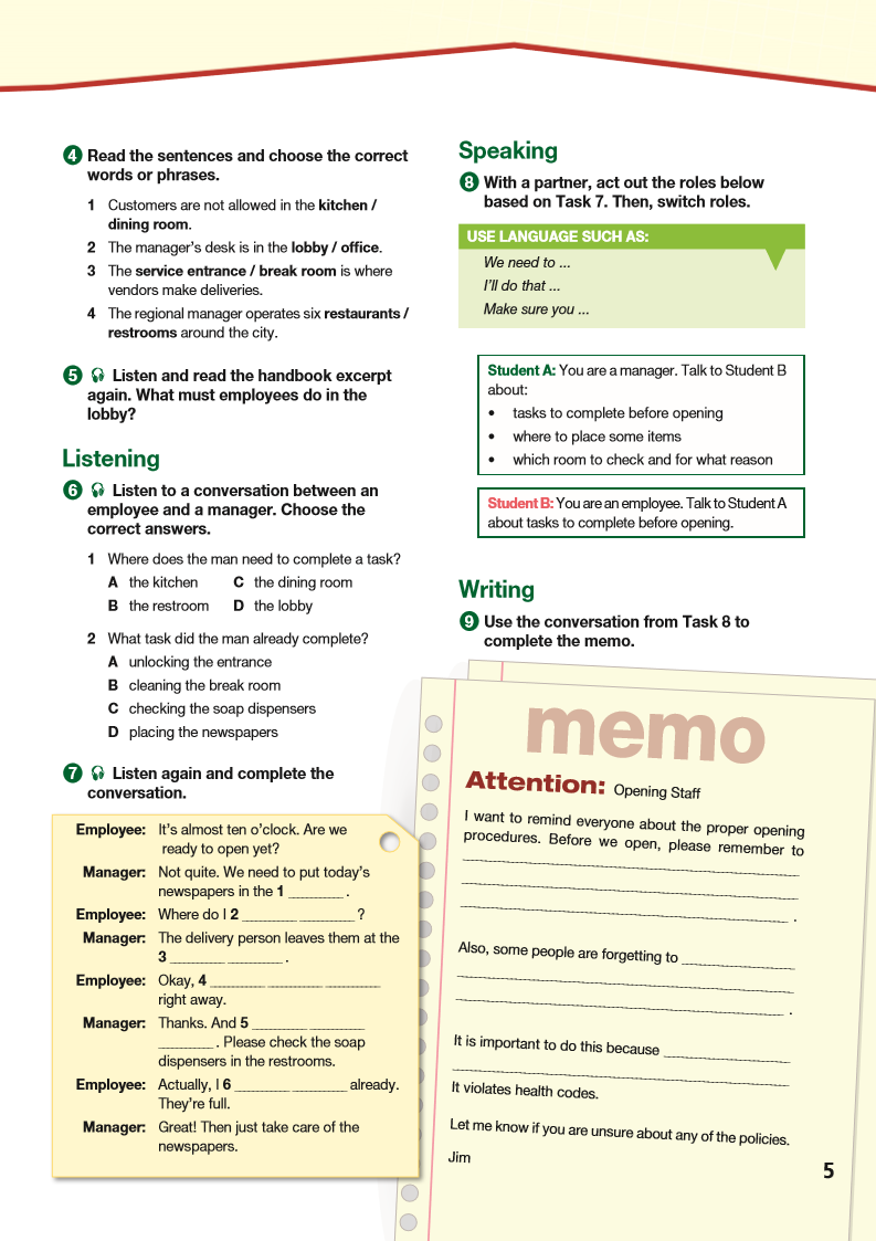 ESP English for Specific Purposes - Career Paths: Fast Food - Sample Page 2