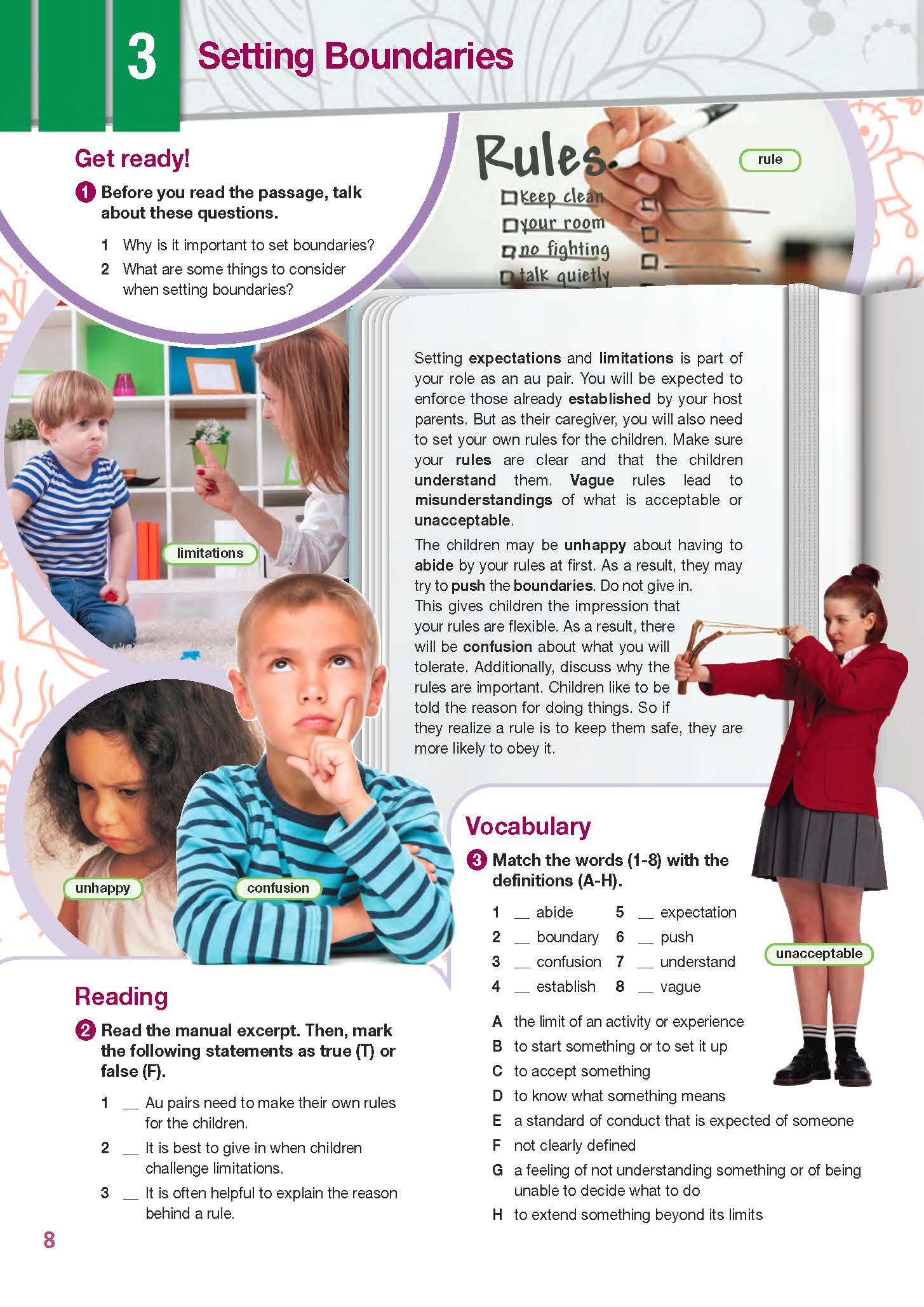 ESP English for Specific Purposes - Career Paths: Au Pair - Sample Page 1