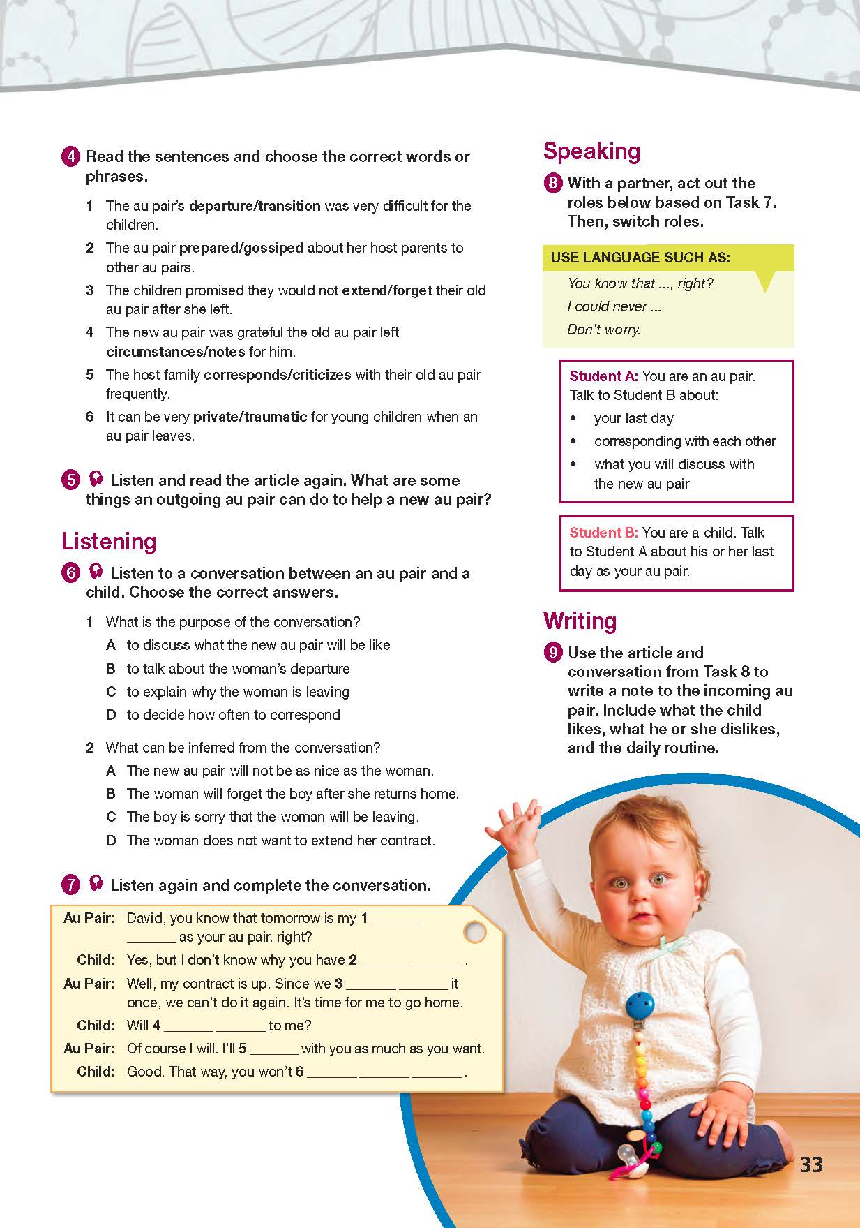 ESP English for Specific Purposes - Career Paths: Au Pair - Sample Page 4