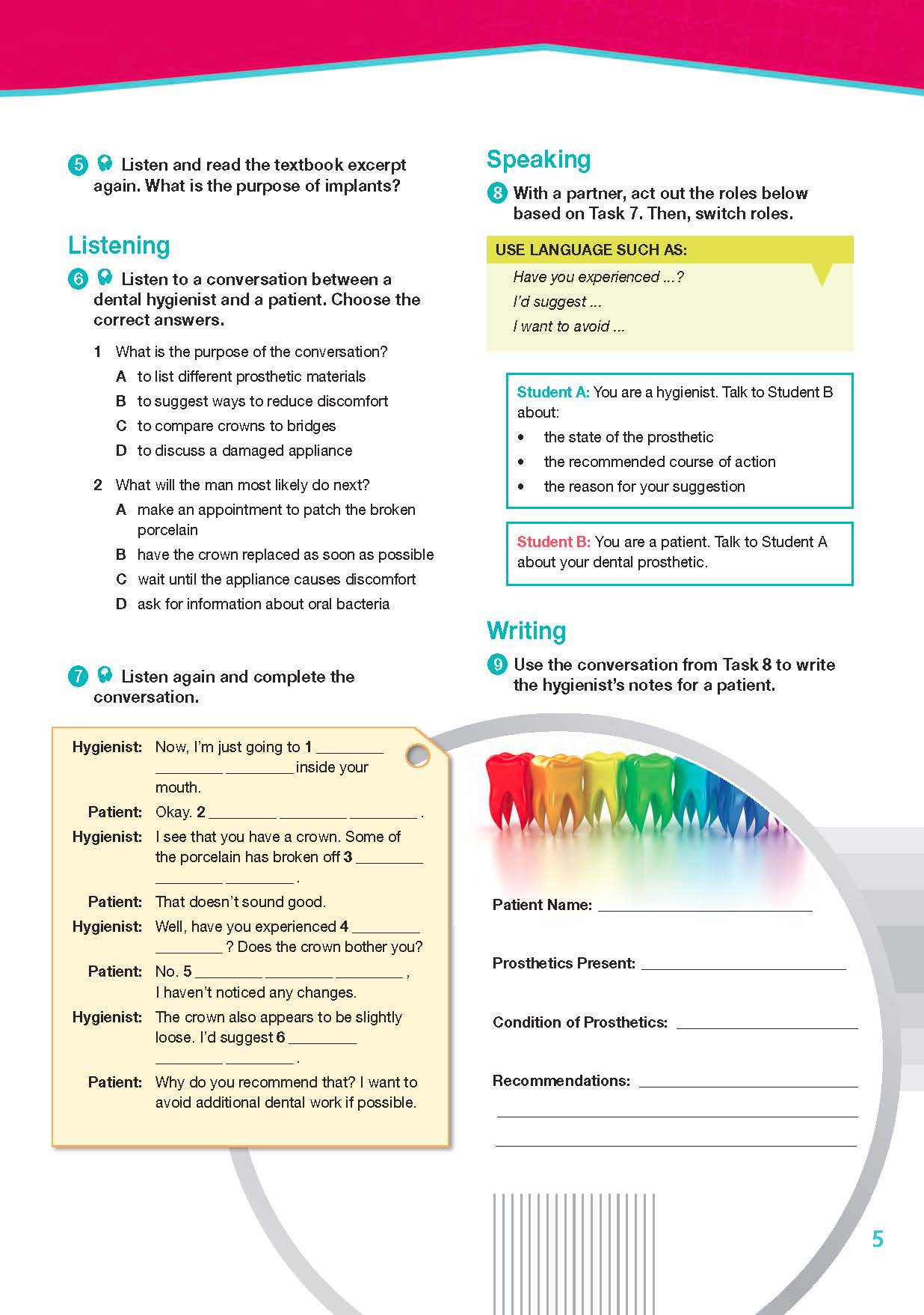 ESP English for Specific Purposes - Career Paths: Dental Hygienist- Sample Page 2
