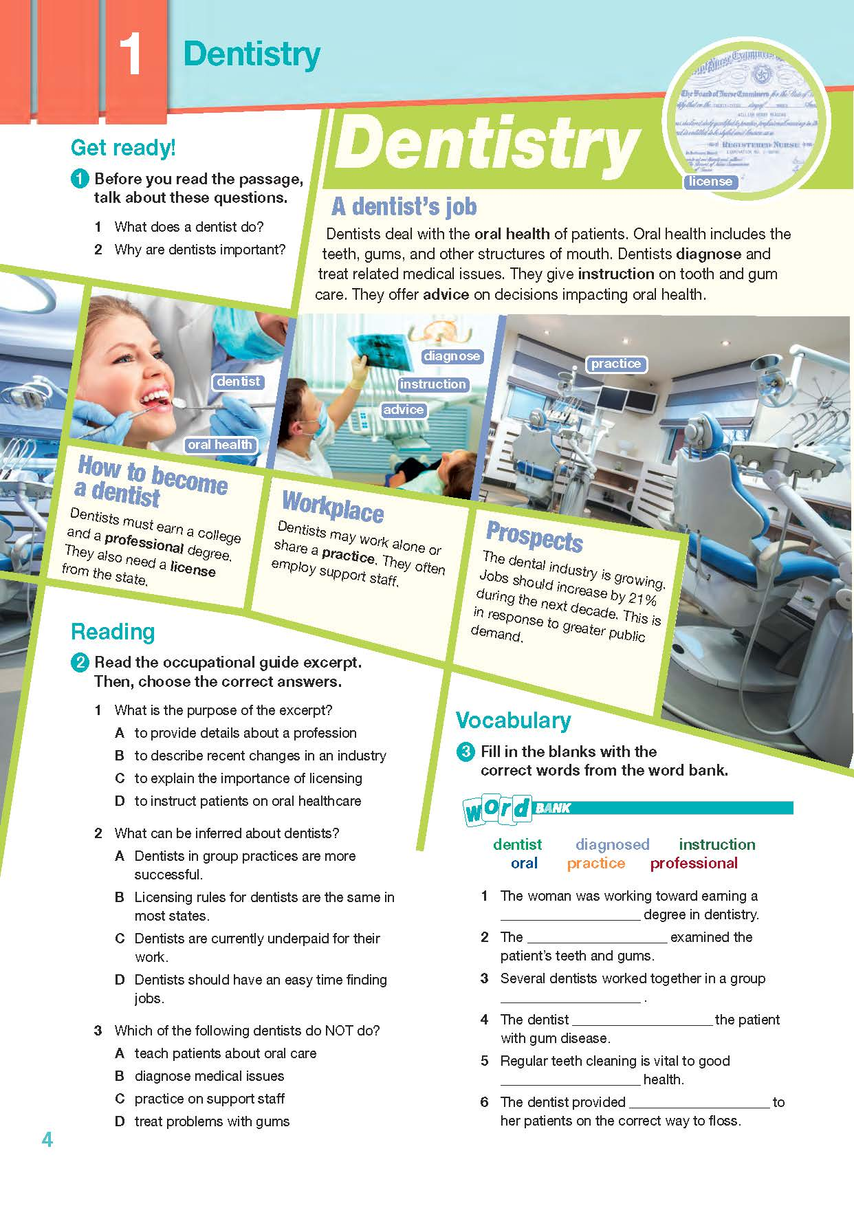 ESP English for Specific Purposes - Career Paths: Dentistry - Sample Page 1