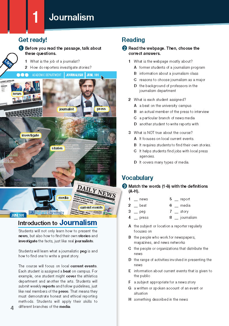 ESP English for Specific Purposes - Career Paths: Journalism - Sample Page 1