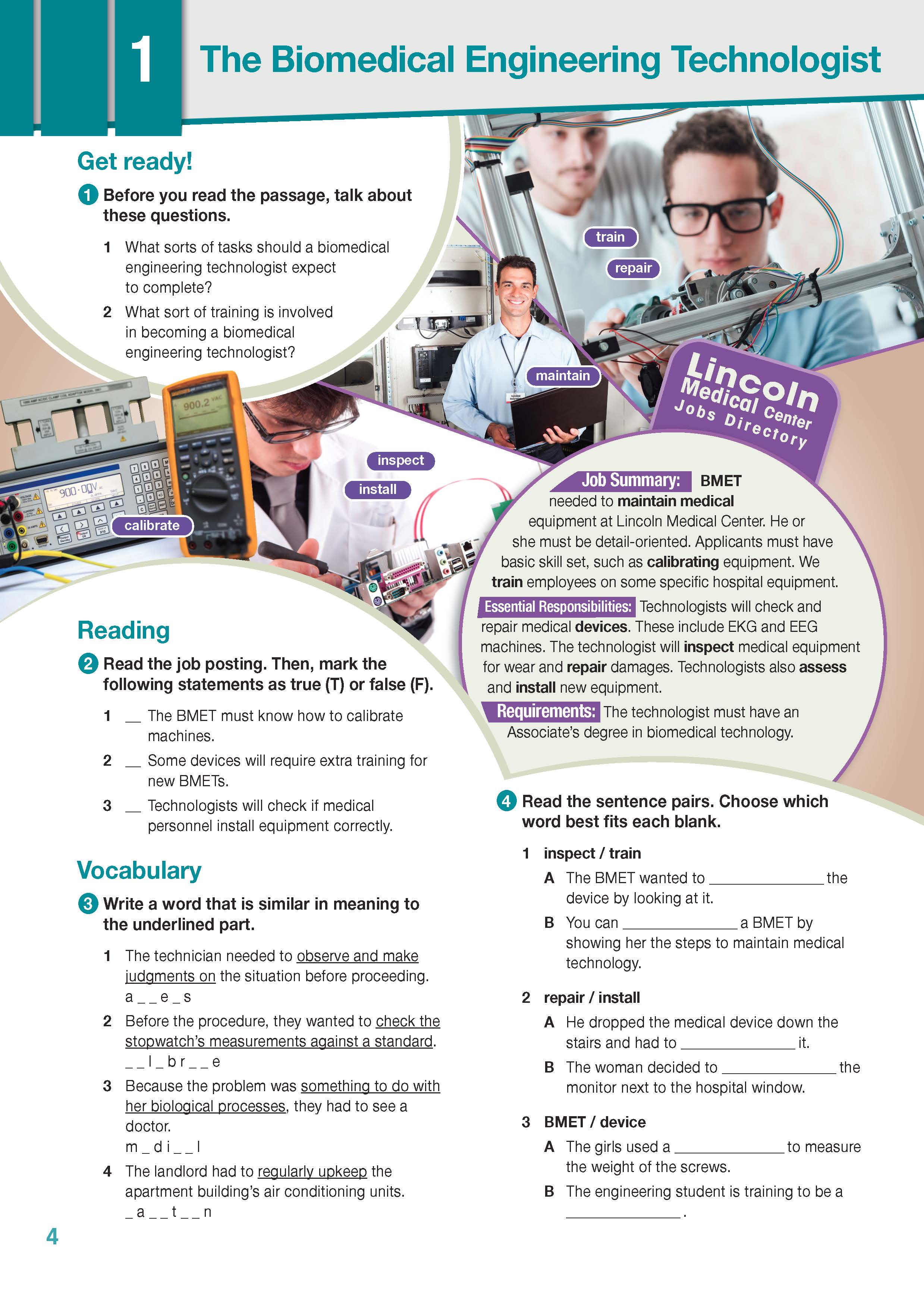 ESP English for Specific Purposes - Career Paths: Medical Equipment Repair - Sample Page 1