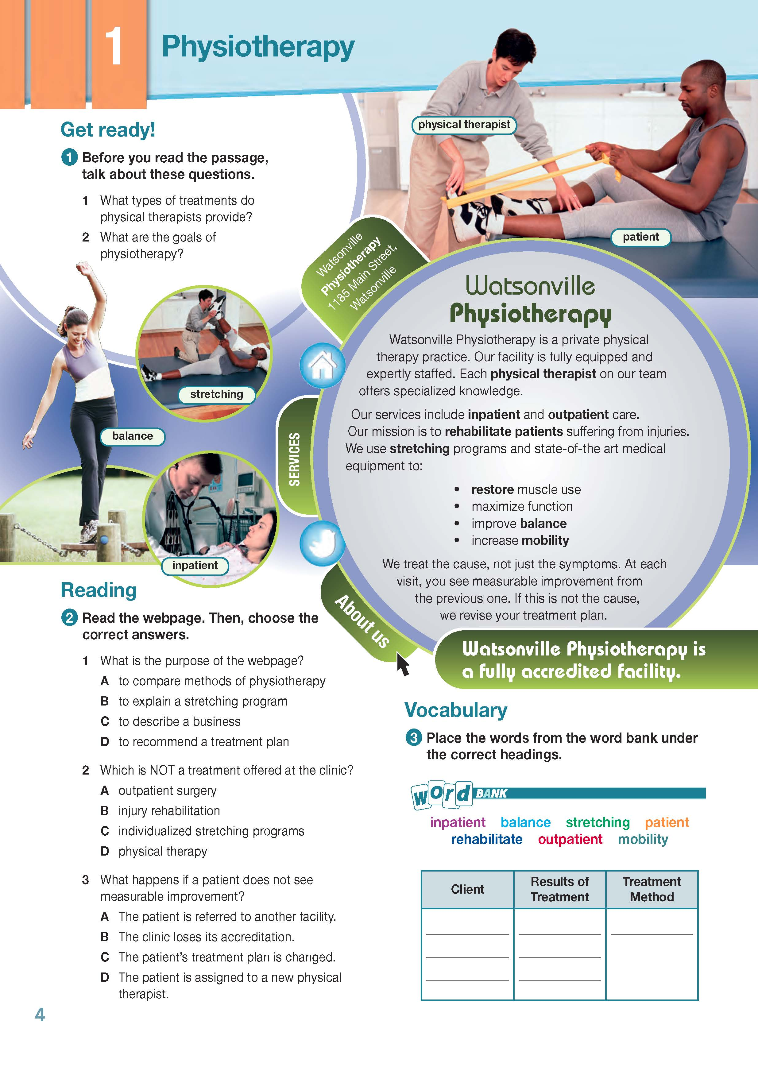ESP English for Specific Purposes - Career Paths: Physiotherapy - Sample Page 1