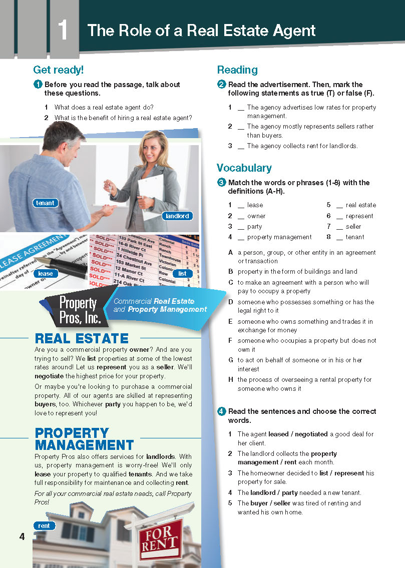 ESP English for Specific Purposes - Career Paths: Real Estate - Sample Page 1