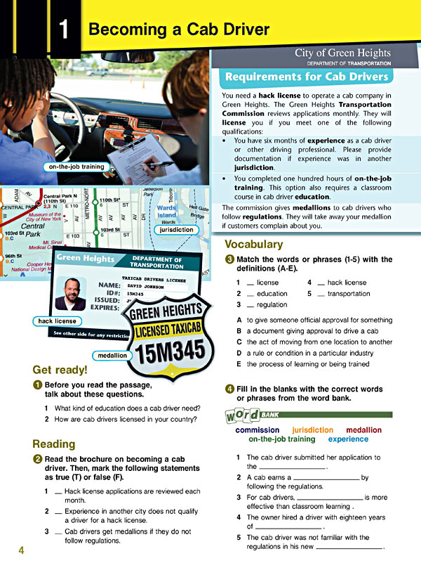 Sample Page 1 - Career Paths: TAXI Drivers
