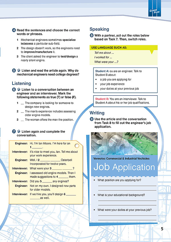 Sample Page 2 - Career Paths: Mechanical Engineering