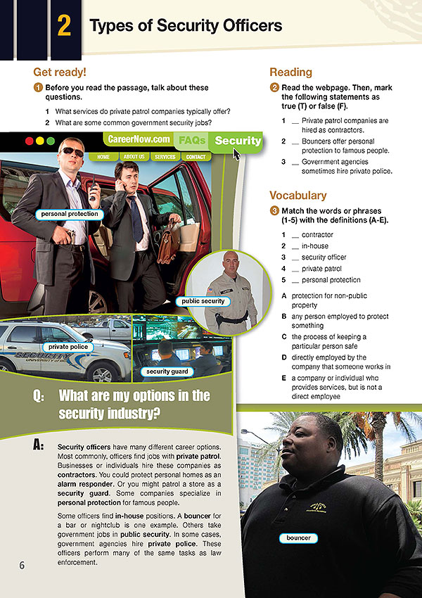 Sample Page 4- Career Paths: Career Paths: Security Personnel